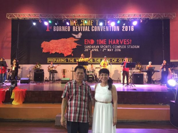 Pastor Callie Liew (right) with the organising chairman of First Borneo Revival Conference in Sandakan, Reverend Augustine Saang