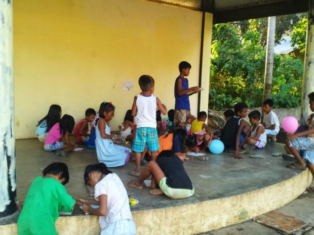 The spruced up public area where the children initially gathered to hear about Christ