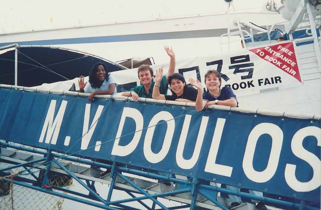 Pari Bala (most left) on the MV Doulos ship with the crew