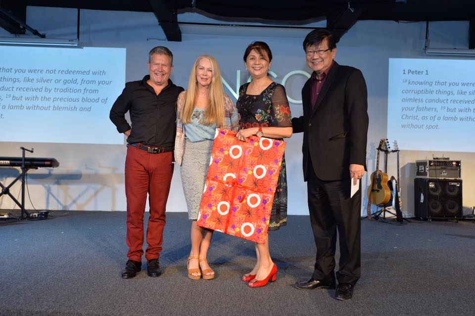 Pastor Rufus (most left) with his wife and Pastor Peter Sze (most right), Senior Pastor of tNCC with his wife