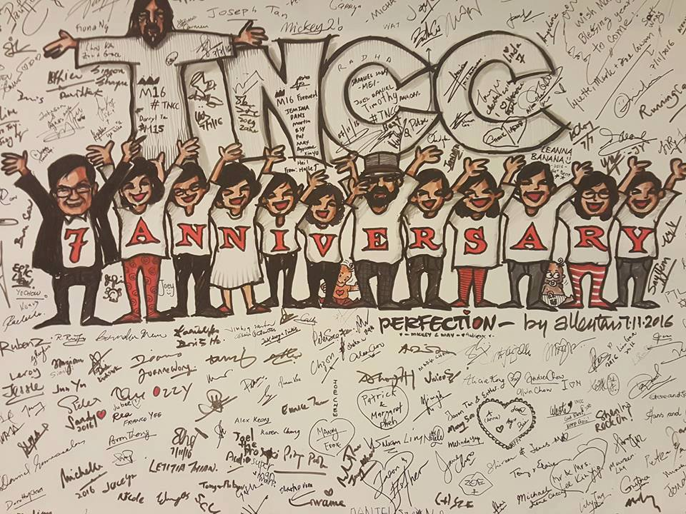 A speed-drawing done by Allen Tan, with signatures by the attendees of tNCC