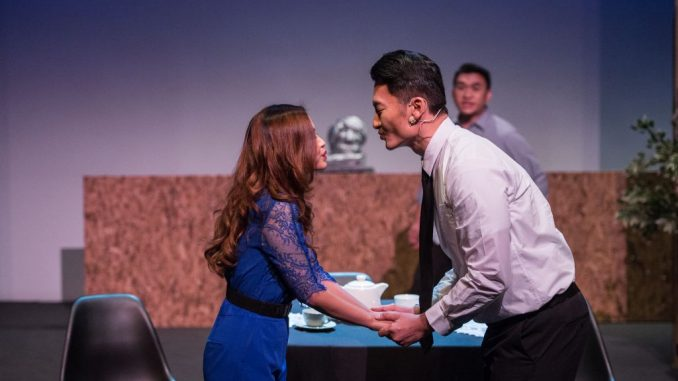 The end of the performance where the Chairman attempted to steal a kiss with Esther