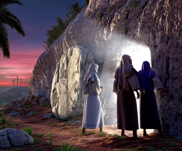 Mary Magdalene, Mary, & Salom walking up to the bright empty tomb of Jesus Christ early Sunday morning, Showing Golgotha in the background.